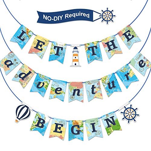 - Let the Adventure Begin Banner Travel Bon Voyage Banner Travel Themed Party Supplies for Birthday Graduation Retirement Farewell Adventure