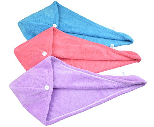 HOPESHINE Women's Soft Shower Hair Towel Twist Hair Turban Wrap Drying Cap Great Gift for Christmas (Blue+Purple+Rose Red 3-Pack)