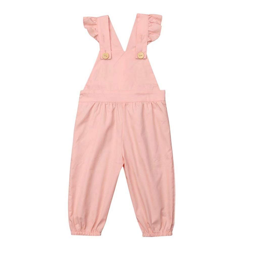 Kmbangi Toddler Kids Baby Girls Bib Overalls Long Suspender Pants Jumpsuit Trousers