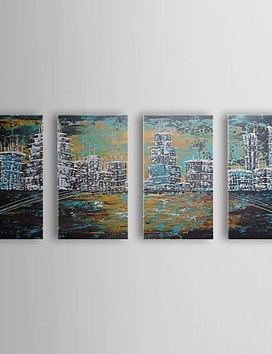 F Latoo Dipinto A Mano Pittura A Olio Paesaggio Città Con Set