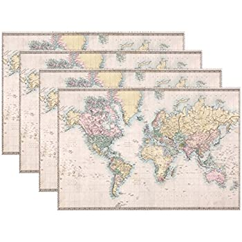Amazon world awaits travel themed party placemats set of 12 wozo antique world map placemat table mat old map 12 x 18 polyester gumiabroncs Choice Image