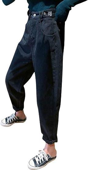 [YUNHEN]デニムパンツ レディース ジーンズ ゆったり ハイウエスト ワイドパンツ デニム テーパード ジーパン ストレート ファッション Gパン オシャレ 刺しゅう ズボン