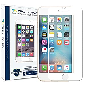 iPhone 6 Plus Screen Protector, Tech Armor HYBRID Edge to Edge Glass (.2mm) Apple iPhone 6S Plus / iPhone 6 Plus (5.5-inch) Screen Protector (Wht) [1]