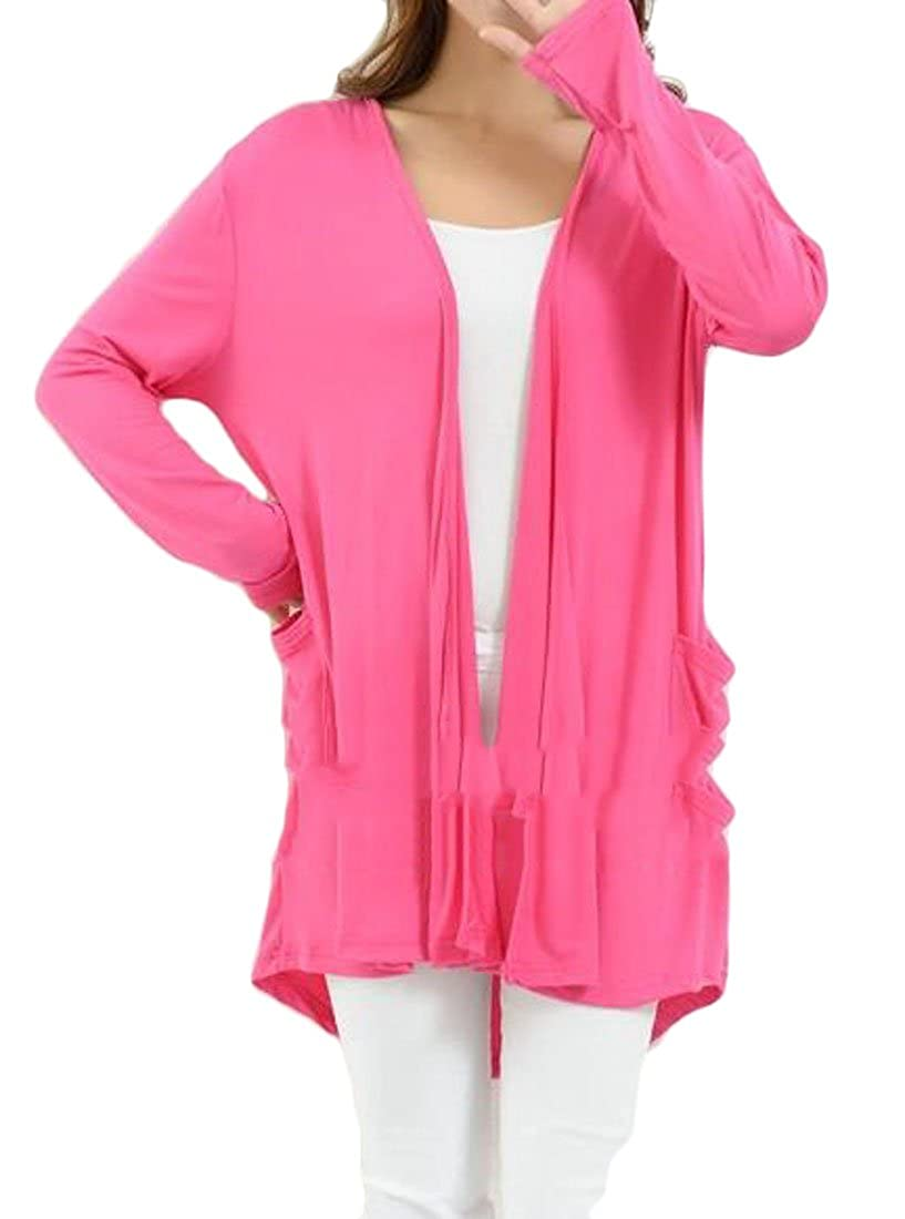 SELX Women Plus Size Open Front Solid Color Mid Length Comfort Soft Cardigan