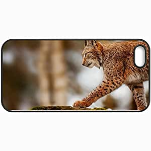 Personalized Protective Hardshell Back Hardcover For iPhone 5/5S, Lynx Design In Black Case Color
