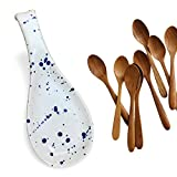 Ceramic Spoon Rest - White and Blue Handmade Modern Kitchen & Cooking Decor - No Mess Cooking, and Easy Stove Clean Up for Kitchen
