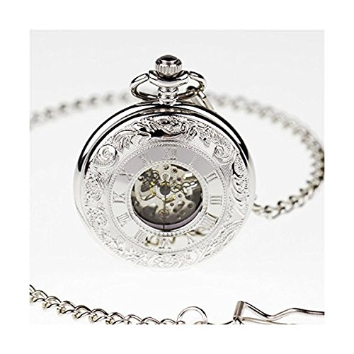 (PACIFISTOR Steampunk Silver Hands Scale Mechanical Skeleton Pocket Watch Hand Wind)
