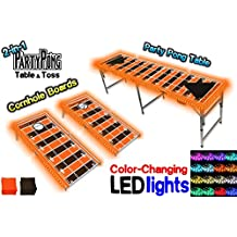 2-in-1 Cornhole Boards & Beer Pong Table w/ Color-Changing LED Glow Lights - Cleveland Football Field