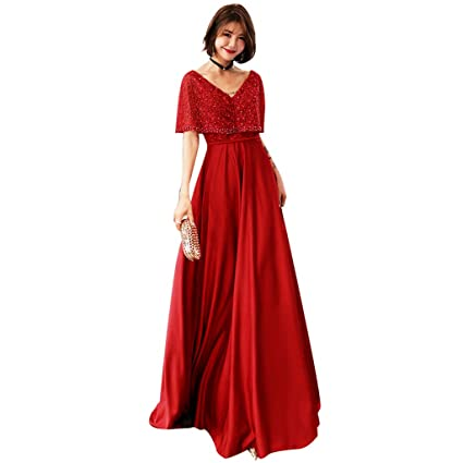 Vestido De Dama De Honor De Bodas Rojo Vino Manga Larga Una