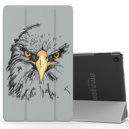 MoKo Case for Fire HD 8 2016 Tablet - Lightweight Slim Shell Stand Cover with Translucent Frosted Back for Fire HD 8 (Previous 6th Gen-2016 Release ONLY), Eagle (NOT FIT 7th Gen 2017 Tablet) - Frosted Eagle