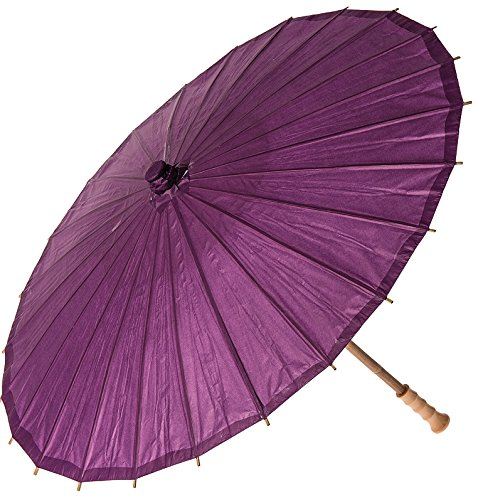 Luna Bazaar Paper Parasol (28-Inch, Plum Purple) - Chinese/Japanese Paper Umbrella - For Weddings and Personal Sun Protection ()
