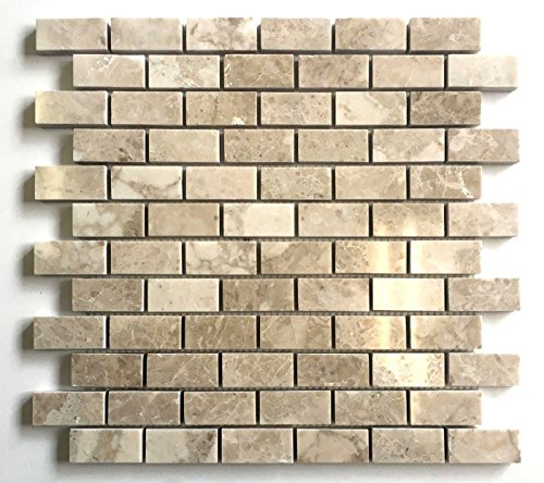 Cappucino Beige 1x2 Polished Marble Mosaic Tile Backsplash Wall and Floor