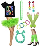 Women 80s Party Girl T-Shirt Costume with Tutu Skirt (S/M, Green)