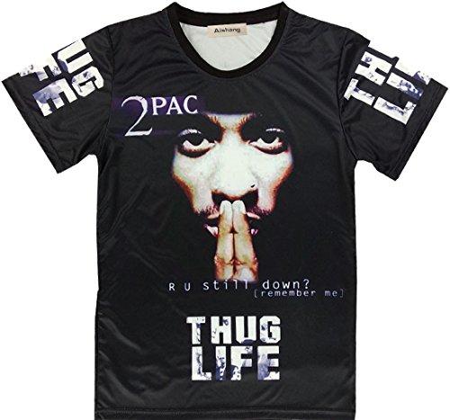 (Aishang Unisex Hiphop 2pac print Lightweight Cool T Shirt Short Sleeve Top)