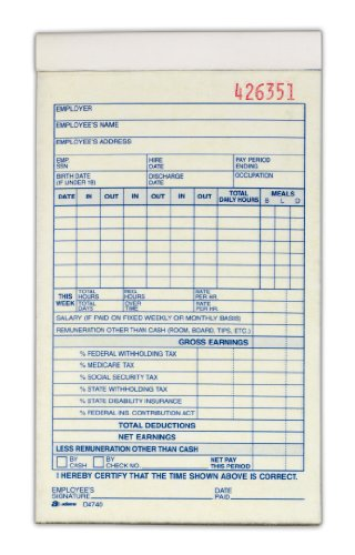 Adams Record Ledger (Adams Employee Payroll Record Book, 2 Part, Carbonless, 4.19 x 7.19, 50 Sets per Book, White and Canary (D4740))