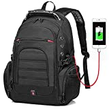 Large Laptop Backpack,TSA Friendly Durable Travel Backpack with USB Charging Port for Men&Women,Big Water-Resistant Business College Bookbag fit 17inch Laptop (17inch black2)