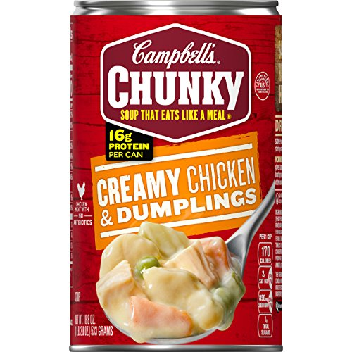 Campbell's Chunky Creamy Chicken & Dumplings Soup, 18.8 oz Can (Pack of ()
