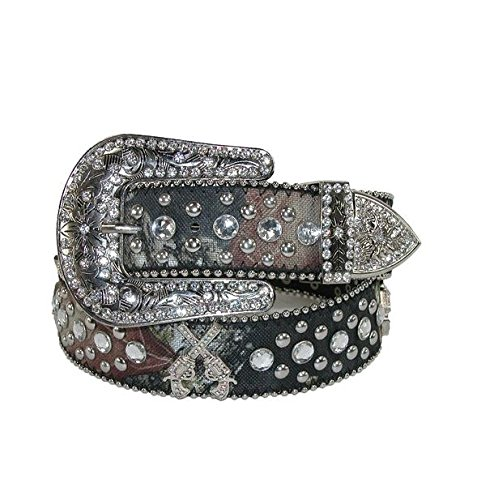 DF Western Cowgirl Six-Shooter Bling Rhinestone Belt Mossy Oak Camouflage