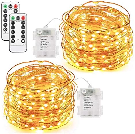KINGOAL Fairy String Lights Battery Operated 33ft 100LEDs with Remote Control Waterproof Copper Wire Decorative Lights for Outdoor Indoor Wedding Christmas 3000K 2 Pack 3M Extension Cord Included