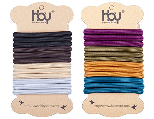 24 Pack: HBY Large Elastics Hair Ties Pony Ponytail Holders for Thick Hair - Stretchy Elastic Hair Bands for Women and Girls