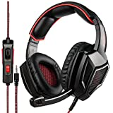 [Newest Updately] Sades SA920 Wired Stereo Gaming Headset Over Ear Headphones with Microphone for New Xbox One / PS4 / PC /Cell phones- Black/red