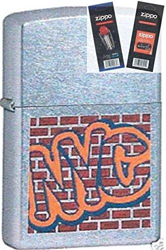 Zippo 6391 Ny City Nyc Graffiti Brick Lighter Withflint & Wick Gift Set (Brick Outlet Furniture)