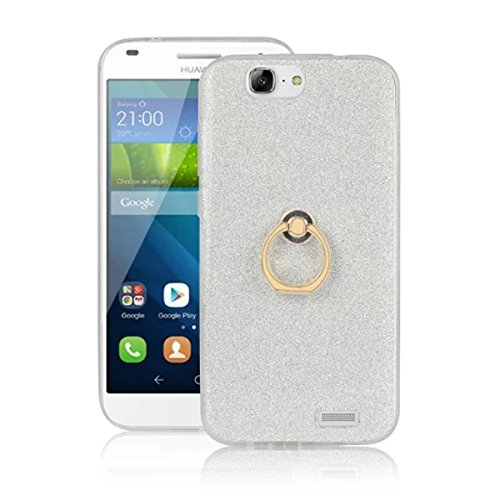Huawei Ascend G7 Case,Gift_Source [Ring Holder Kickstand] [Anti-Shock] Flexible Gel TPU Rubber Soft Silicone Bling Glitter Sparkle Back Case Shock-Absorption Bumper Cover for Huawei Ascend G7 [White]