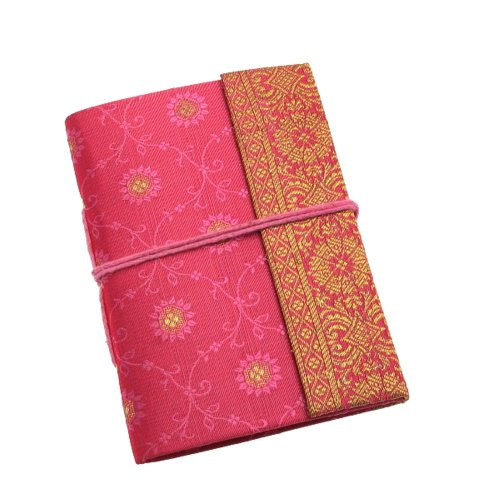 Fair Trade Notizbuch Sari 80 x 105 mm - rosa