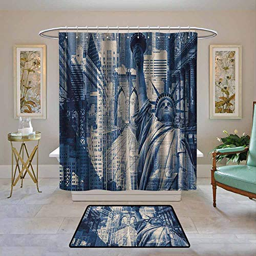 Kenneth Camilla01 Shower Curtain United States,Double Exposure Image of Statue of Liberty with New York Buildings, Dark Blue Purplegrey,Water Resistant Decorative Bathroom Fabric 62