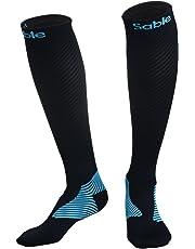 Calcetines de compresión Mujer y Hombre Sable Calcetines para Running, carrera atlética y medias de rendimiento para el ejercicio, fitness atlético, viajes en avión, Negro