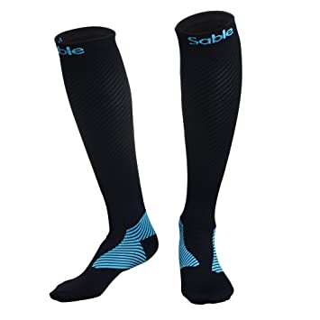 Compression Socks for Women Men, Sable 1 Pair Stockings 20-30 mmHg High Sleeves