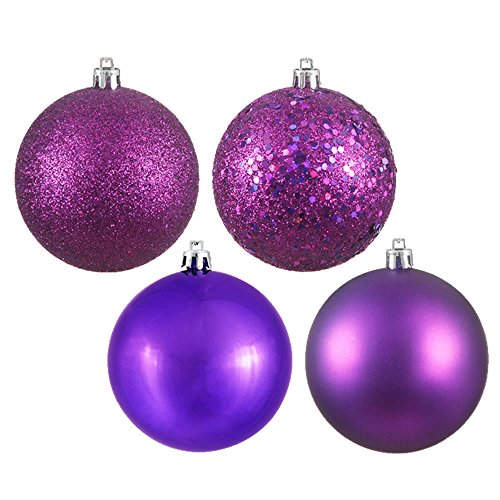 Vickerman Shatterproof Ball Ornament Assortment Featuring Shiny, Matte, Sequin, and Glitter Finishes, 4 per Bag, 12
