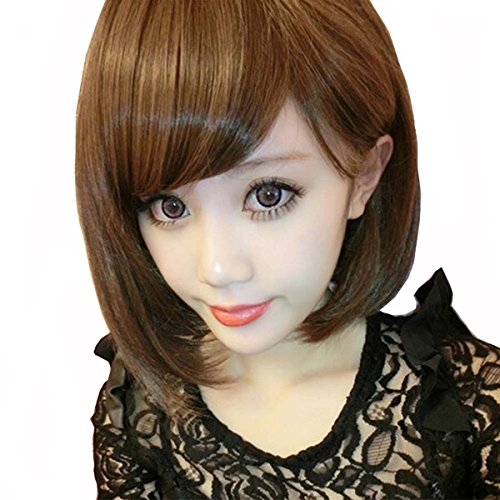 [TopWigy Short Bob Straight heat Friendly Hair Replacement Wig with Wig Cap(Light Brown)] (Rikku Cosplay Costume For Sale)