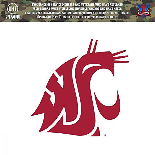 (Victory Tailgate Washington State Cougars Operation Hat Trick OHT Die Cut Vinyl Decal (6x6) )