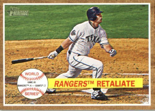 Topps Baseball Texas Rangers Cards (2011 Topps Heritage Baseball Card #234 Rangers Retaliate HL - Texas Rangers (Mitch Moreland / World Series Highlights) MLB Trading Card)