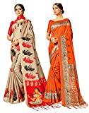 Elina fashion Pack of Two Sarees for Women Mysore Art Silk Printed Indian Wedding Saree   Diwali Gift Sari