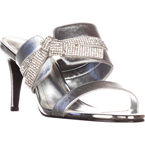 Silver Love Sandals Mule Metallic Caparros Evening Knot I Rf55xzY