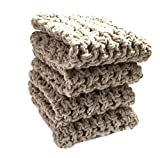 Handmade Dish Cloths Cream Beige Wash Cloths Neutral Crochet Cotton Kitchen Dishcloths Set of 4