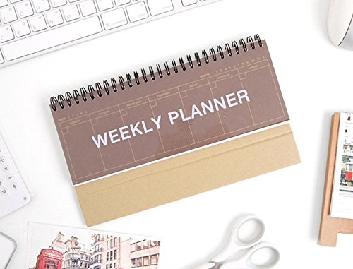 2YOUNG Kraft Standing Weekly Planner - Wirebound Kraft Undated Weekly Desk Planner Scheduler (Wine)