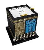(US) Mirac Kaaba Azan Prayer Nimaz Clock, Islamic Table Adhaan Reminder Azan Saati (Black)