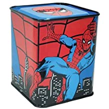 WL SS-WL-22947, 3.75 Inch Marvel Comics The Amazing Spiderman Red and Blue Tin Bank