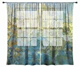 Abstract art sheer drapes, set with two 50''x84'' panels in turquoise and green, Wintercreek