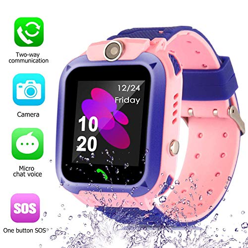 Smart Watch for Kids GPS Tracker - IP67 Waterproof Smartwatches with SOS Voice Chat Camera DND Alarm Clock Digital Wrist Watch Smartwatch Girls Boys Birthday Children Gifts