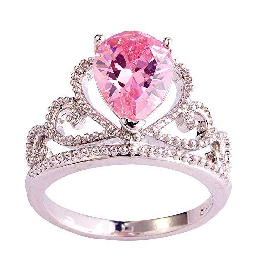 PAKULA Silver Plated Women Pear Cut Simulated Pink Topaz Tiara Crown Ring