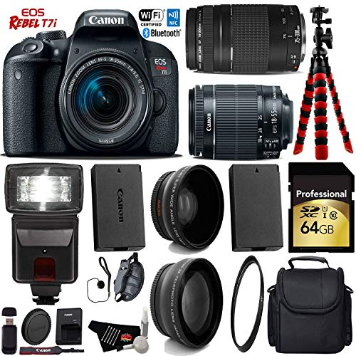 Canon EOS Rebel T7i DSLR Camera 18-55mm is STM Lens & 75-300mm III Lens + Flash + UV FLD CPL Filter Kit + Wide Angle & Telephoto Lens + Camera Case + Tripod + Card Reader – International Version For Sale