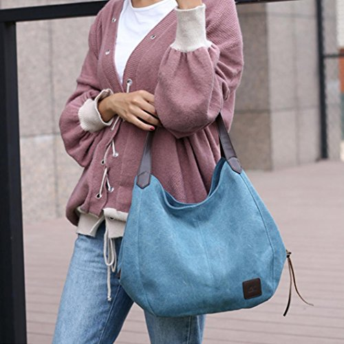 Coffee Shoulder Canvas Hobos Solid Single Female Love Women Pocciol Handbags Bags Blue Vintage pzaxFwRzPq