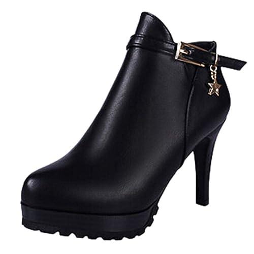 Botines tacón Altas Aguja Plataforma cuña Mujer Invierno Moda PAOLIAN Botas Cuero caña bajo Fiesta Mujer Botas Biker Piel Negras Comodos Zapatos Señora ...