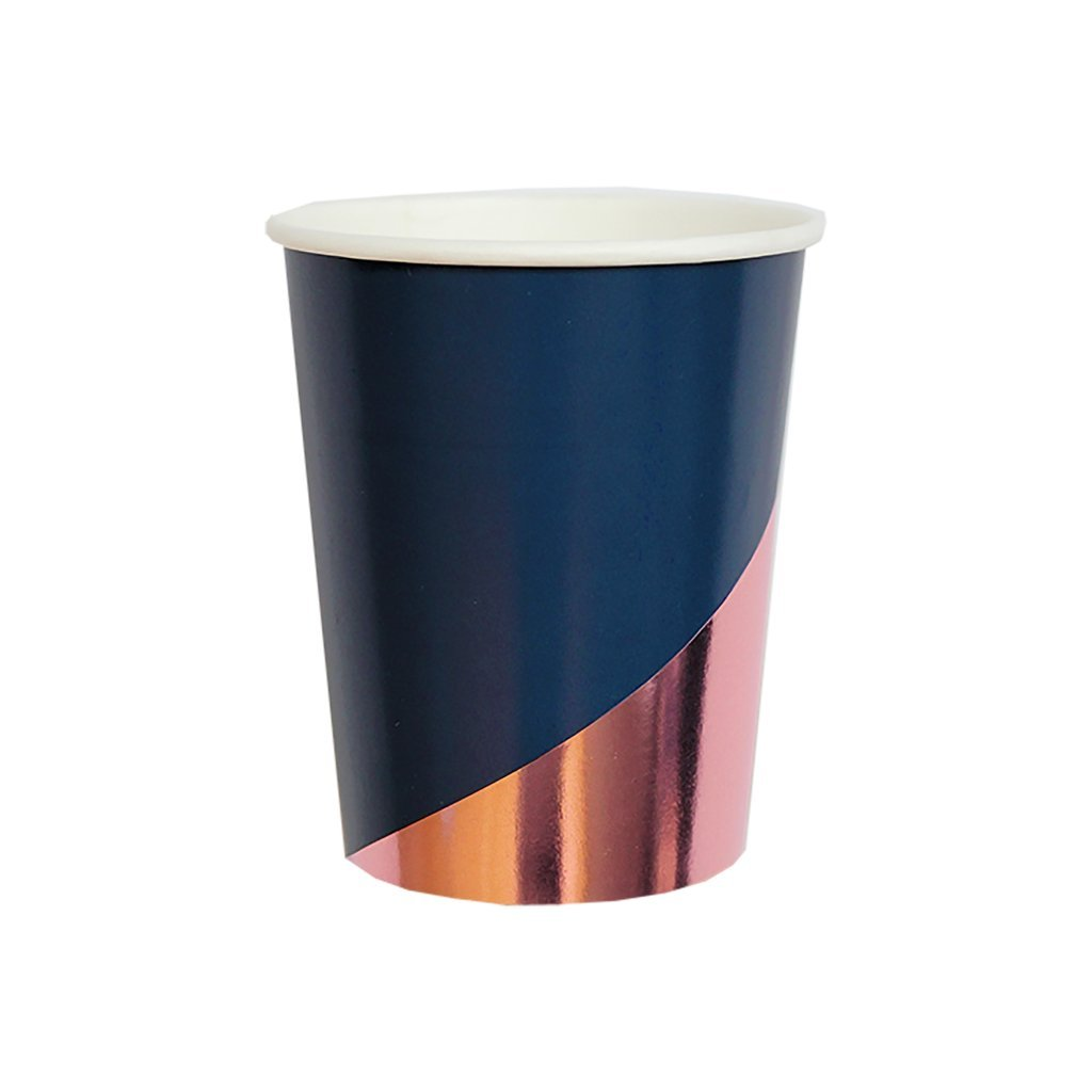 Navy Blue w Rose Gold Paper Cups - Birthday, Wedding, Showers Party Disposable Cups - Harlow & Grey Erika (8 Count)