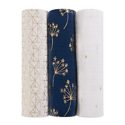 aden + anais Metallic Swaddle Baby Blanket, 100% Cotton Muslin, Large 47 X 47 inch, 3 Pack, Metallic Gold Deco Dandelion