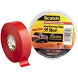 """3M Scotch 10810-35 Vinyl Electric Tape, 0 to 105 Degree C, 1250 V/mil Dielectric Strength, 66' Length x 3/4"""" Width, Red"""